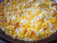Hot and Cheesy Corn Dip recipe. Chock-full of corn, bacon, and cheese! The perfect dip for watching football. Yummy Appetizers, Appetizer Recipes, Appetizer Ideas, Party Recipes, Corn Dip Recipes, Weed Recipes, Marijuana Recipes, Chili Recipes, Gourmet