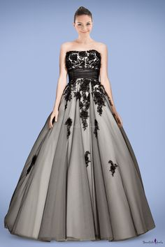Fantastic Strapless Princess Prom Dress with Beaded Applique and Floral Detail