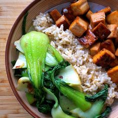 Maple-Glazed Tofu with Garlic Bok Choy Saute & Brown Rice #Vegan Delicious and simple meal. I used agave nectar instead of maple syrup and added sesame seeds Yummyy