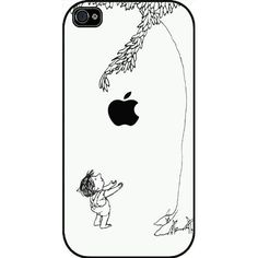 Giving Tree Black and White Version Iphone 4 Case, Hard Case Black