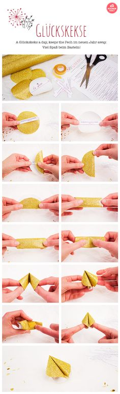 DIY fortune cookies - it& so easy to make them yourself! Fortune cookie sayings,, fortune cookie, fortune cookie tinker yourself Diy Craft Projects, Diy And Crafts, Paper Crafts, Diy Silvester, Easy Diy Gifts, Presents For Kids, Fortune Cookie, Nouvel An, Biscuits