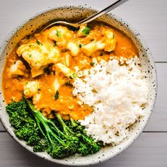 Cauliflower and Yellow Lentil Curry #curry #lentils #cauliflower #curry #broccolini