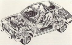 Motor Car, Auto Motor, Motor Sport, Cutaway, Ford Fiesta Mk1, Car Sketch, Print And Cut, Vintage Cars, Ferrari