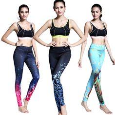 Womens yoga gym sport leggings running compressie fitness training panty waterdruppels 3d gedrukt broek workout broek