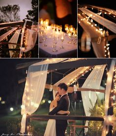 Small lights and candles in wine glasses provide an easy but very pretty day-to-evening transition