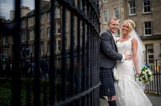 Bride & Groom Edinburgh City Portrait | Glamorous Contemporary Wedding | Scottish Wedding At Mansfield Traquair In Edinburgh | Images by Elemental Photography | http://www.rockmywedding.co.uk/yvette-andy/