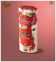 Packaging. 2+1 Fruits&flowers Collection Dessus: Fraises et crème.  Inoubliable combinaison  de thé noir du Ceylan. Fraise et  papaye naturelle,  rose musqué,  pétales de rose et carthame, mélangées avec une doux et délicieuse crème de fraises. Dessous: Thé noir du Ceylan de la meilleure qualité du type OP1 cultivé dans les collines de Sri Lanka. BASILUR TEA SPAIN&FRANCE