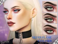 Silver Flame Eyeliner - The Sims 4 Catalog Sims 4 Mods, Sims 3, Best Sims, The Sims 4 Kids, Metallic Eyeliner, Apply Eyeliner, Eyeliner Hacks, Makeup Hacks, Glitter Eyeshadow