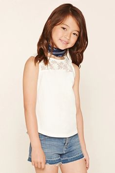 A knit tank featuring a sheer mesh yoke and back with floral embroidery, a round neckline, and a buttoned keyhole in back. #f21kids