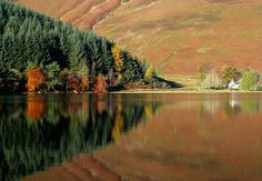 Reflections on St Mary's Loch, Scotland, photographed by Walter Baxter Scotland Vacation, Best Authors, The Loch, Highlanders, England And Scotland, Boarders, Edinburgh, Biking, Brave