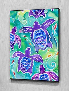 Sea Turtle Swim from Silk Painting, Wall Art Wood Panel