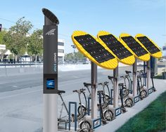 ideas for city bike station Solar Charging Station, Car Charging Stations, Electric Bicycle, Electric Cars, Bike Shelter, Bike Parking, Bike Storage, Urban Furniture, Luxury Furniture