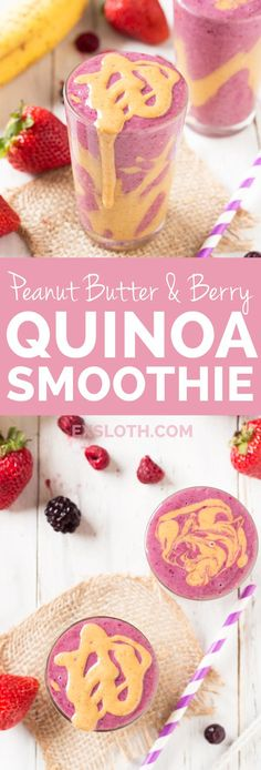 Just 5 ingredients and a blender and you've got a creamy, protein-filled peanut butter & berry quinoa smoothie bowl, perfect for breakfast on the go. Yummy Smoothies, Juice Smoothie, Smoothie Drinks, Yummy Drinks, Healthy Drinks, Smoothie Recipes, Healthy Snacks, Yummy Food, Healthy Recipes