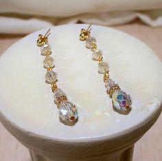 Swarovski AB Teardrop Earrings in Gold by tbyrddesigns on Etsy, $29.00