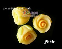 6 pcs 8 mm Yellow Polymer Clay FIMO Flowers for Beads by diyla, $1.28