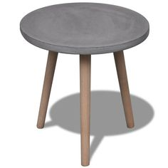 Concrete Top Round Dining Table Outdoor Desk Coffee Table w/ Oak Base Grey Cement Table, Office Waiting Rooms, Off White Walls, Outdoor Coffee Tables, Concrete Furniture, Round Dining Table, Modern Retro, Diy Table, Furniture Making