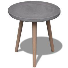Rond tafeltje met betonnen tafelblad en eiken poten
