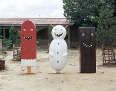New York City-based artist Olaf Breuning hired Ghanaian casket artisans to make him these cartoonish coffins back in 2004. The coffins include a chocolate bar, snowman, and melting popsicle. Colorful fantasy coffins, which are as much sculptures as caskets, are a traditional feature of Ghanaian funeral culture.