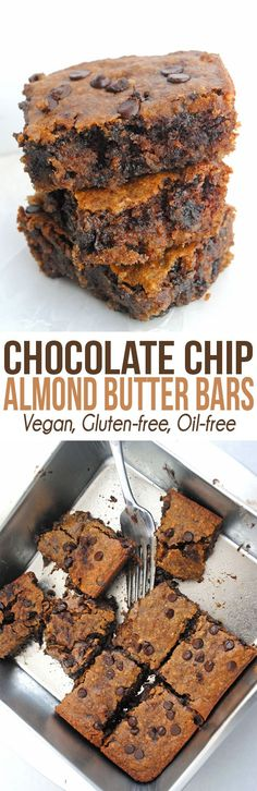 If you're looking for a delicious gooey treat that's vegan & gluten-free, these Chocolate Chip Almond Butter Bars are perfect! desserts in a cup Chocolate Chip Almond Butter Bars (vegan, gluten-free, refined sugar-free Gluten Free Baking, Gluten Free Desserts, Dairy Free Recipes, Vegan Gluten Free, Vegan Recipes, Lactose Free, Dessert Bars, Paleo Dessert, Dessert Recipes