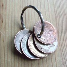 Taking coins with significant dates make a keyring for a special anniversary gift.