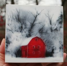 Country winter 4x4 Fine art photography wood by dahliahousestudios, $20.00