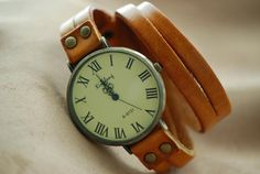 Antique Brass Leather Wrap Watch Women Wrap Watch by spicylife2046, $11.55