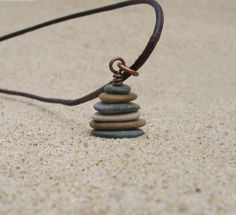 Leelanau Stacked Beach Stone Pebble Cairn Pendant by StoneCairns
