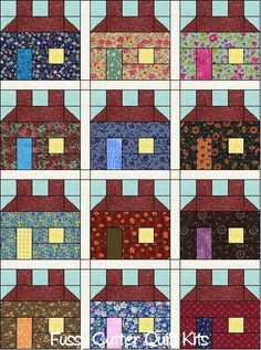 Easy houses.  Scrappy Fabric Prim Americana Primitive School House Salt Box Pre-Cut Quilt Blocks Top Kit at http://www.fussycutter.com/product_info.php?products_id=969