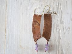 Rustic earrings, forged copper and Amethyst