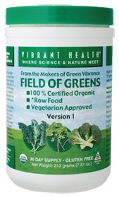 Vibrant Health Field Of Greens Raw Organic, 7.51 Ounces. I do have green powder for travel and this product is a fav.