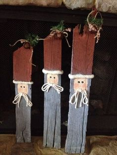 Reclaimed Wood Pallet Santas by HandMeDownGifts on Etsy Christmas Wood, Primitive Christmas, Christmas Holiday, Christmas Ideas, Christmas Stuff, Holiday Ideas, Xmas, Christmas Ornaments, Wood Pallet Art
