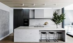 Modern Minimal Kitchen in Stone and Dark Wood I T&PC Residence by Mim Design