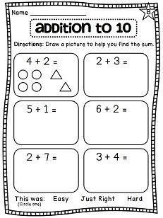 Drawing pictures to help solve addition to 10