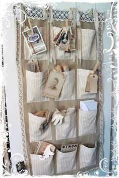 Shabby Burlap Wall Hanging With Fabric Pockets  Clothepins to Hold Trinkets or Inspiration