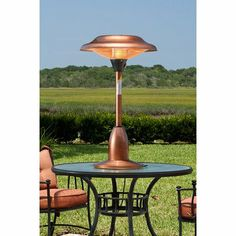 Fire Sense Copper Finish Table Top Round Halogen Patio Heater - http://www.firepitsoutdoorheaters.com/fire-sense-copper-finish-table-top-round-halogen-patio-heater/