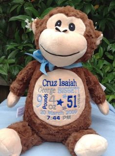 Personalized baby gift monogrammed monkey birth announcement by personalized baby gift monogrammed monkey birth announcement by worldclassembroidery 4499 brown blue green monkey baby boy new baby pinterest negle Images