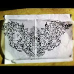 Neo traditional chest piece sketch - woman, flowers, skull, anatomical heart etc