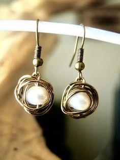 "Silver Plated Jewelry EXOTIC Fresh Water PEARL Women/'s Oxidized Earrings 1.4/"""