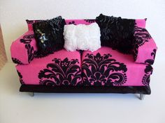 DIY: Trendy Doll House Sofa Couch Barbie Monster High Pullip 1 6 Furniture OOAK | eBay