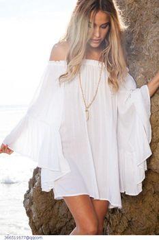 Robe été 2015 été femmes blanc / noir Sexy Slash cou à manches longues plage en mousseline de soie Mini Robe Casual Vestidos Verano Mujer LC22010                                                                                                                                                                                 Plus