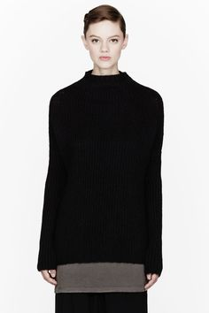 RICK OWENS Black Knit Crater Dolman Sleeve sweater