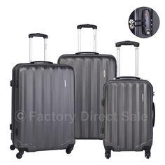 GLOBALWAY 3 Pcs Luggage Travel Set Bag ABS Trolley Suitcase w/TSA Lock
