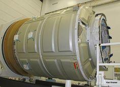 Cygnus pressurized cargo module - side view - during prelaunch processing by Orbital Sciences at NASA Wallops, VA. Credit: Ken Kremer - ken...