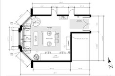 Typical floor plan showing furniture, dimensions, details, etc.