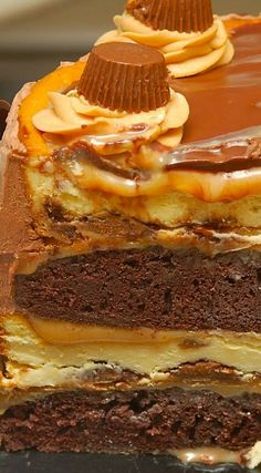 Quadruple Layer Peanut Butter Chocolate Caramel Cheesecake!!!!