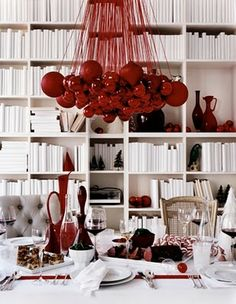 Ornament Chandelier-I could TOTALLY do this in our dining room! Hmmmm...just have to decide what color I want to do.