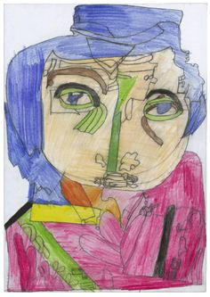 Curzio  Di Giovanni, 1957, Italy    Unnnnn Signorre conn il Nasso verrde scurroo verrde [a man with the green deep green nose], 2003,  lead pencil and coloured pencil on paper   34 x 23,9 cm   © photo credit  Collection de l'Art Brut, Lausanne