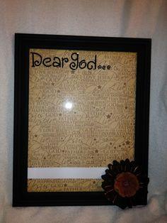 DIY Prayer Board. Picture frame, scrapbook paper for background, white board marker, frame decor