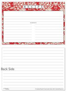 Recipe Card Full Page Fillable Instant Download
