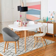 JIMI Scandinavian Style Chairs (Set of LA REDOUTE INTERIEURS .Bring a little Scandinavian style into your home with these iconic chairs. 6 Seater Dining Table, Dining Table Design, Small Dining, Small Tables, Local Furniture Stores, Esstisch Design, Retro Table, Dinner Room, Diy Kitchen Decor